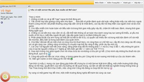 Game thủ Anh Hùng Online muốn có server thu phí 4