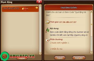 Xứ sở Game Online tặng Giftcode tân thủ Gunny Online 3
