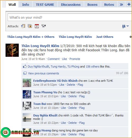 Thần Long Huyết Kiếm phát tài khoản test qua Facebook